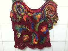 Items similar to Crochet Top Unique top with flowers Vest Lace top Freeform crochet top OOAK top Summer top on Etsy Crochet Blouse, Crochet Top, Crochet Baby Sandals, Handmade Market, V Stitch, Freeform Crochet, Crochet Patterns, T Shirt, Vintage