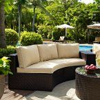 Crosley Catalina Outdoor Wicker Round Sectional Sofa with Sand Cushions - Outdoor Sectional Piece at Hayneedle