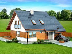 106 sm - very compact, nice layout My Home Design, House Design, Compact House, Design Case, Small House Plans, Home Fashion, Sliding Doors, Cottage Style, Bungalow