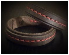 Matching Leather friendship bracelets, couples bracelet, red string of fate, distance gift, hand stitched with red thread, and metal closure. Size 6, 7, 8 or custom. Set of two matching bracelets. (Select Quantity 1 at checkout).