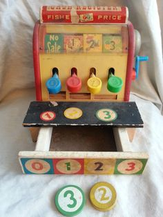 Fisher Price Vintage 1960s Cash Register number 972 Two Wooden Coins Included #FisherPrice