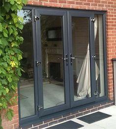 New Grey Patio Doors Ideas French Doors With Sidelights, Windows And Doors, Upvc French Doors, Grey Windows, Upvc Windows, French Windows, Patio Interior, Interior Barn Doors, French Door Sizes