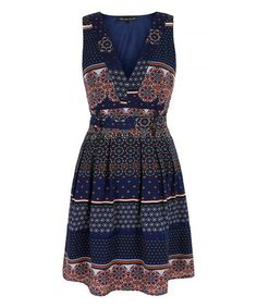 Navy Tile V-Neck Dress #zulily #zulilyfinds