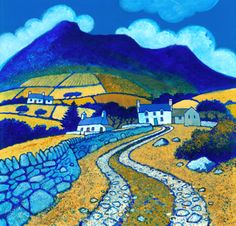 GARN FADRYN by Chris Neale : a five-hectare Iron Age hill fort and is the name of the hill on which the fort is situated. It lies in the centre of the Llŷn Peninsula, Gwynedd, and overlooks Garnfadryn village. Jig Saw, Abstract Landscape, Landscape Paintings, Landscape Arquitecture, Illustration, Naive Art, Print Artist, Pictures To Paint, Art Techniques