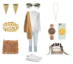 """""""Casual nude look"""" by lisaboqt ❤ liked on Polyvore featuring Citizens of Humanity, Equipment, Rebecca Minkoff, STELLA McCARTNEY, Casetify, Michael Kors, Alexis Bittar, Marc by Marc Jacobs, Converse and Chloé"""