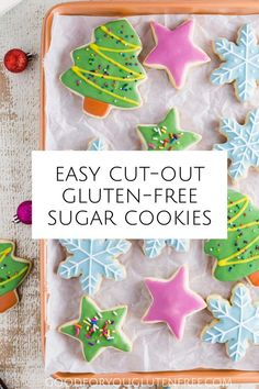 These easy gluten-free sugar cookies can be cut into any shape you desire and decorated with royal icing. These make the perfect gluten-free Christmas cookies. Perfect for all your holiday cookie baki Gluten Free Christmas Cookies, Gluten Free Sugar Cookies, Gluten Free Sweets, Sugar Cookies Recipe, Gluten Free Baking, Holiday Cookies, Christmas Treats, Gluten Free Recipes, Cookie Recipes