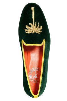 Forest Green Embroidered Velvet Dandy Slipper