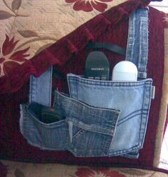 Recycle your jeans - how to make a denim remote control holder from jean pockets.