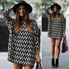 Women's Sexy Chiffon Loose Long Sleeve Geometric Evening Party Short Mini Dress #GL #Sundress #Casual