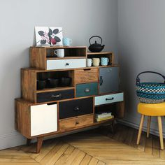 Cabinet de rangement vintage en manguier massif L 125 cm Picadilly | Maisons du Monde