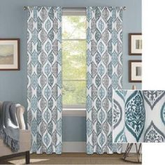 Set Teal Blue Gray White Modern Medallion Ogee Window Curtains Panels Drapes in…