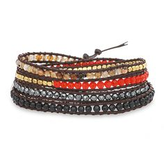 """If you like jewelry that can be paired with almost any and every look you have, then you'll love our Chen Rai Mixed Stones Wrap Bracelet. This lovely wrap bracelet has five different stone colors of silver, red, gold, brown and black, making it very versatile. At 38"""" long, this leather wrap around bracelet can be wrapped over your wrist several times. This is a great accessory piece and can be paired with fun funky earrings or cocktail ring!  Check out all of our Chen Rai Wrap Bracelets to…"""