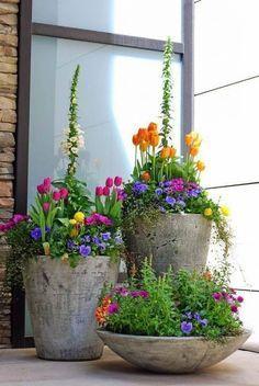 Beton Pflanzkübel Bepflanzung