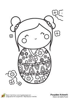 La poupée Kokeshi est toute contente dans son kimono décoré de fleurs géométriques, à colorier