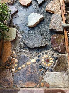 Creating a DIY Stone Mosaic Front Garden Path - Project: Garden Mosaic - # . - Creating a DIY Stone Mosaic Front Garden Path – Project: Garden Mosaic – - Concrete Pathway, Paver Walkway, Mosaic Walkway, Rock Pathway, Flagstone Path, Concrete Stone, Concrete Garden, Unique Gardens, Beautiful Gardens