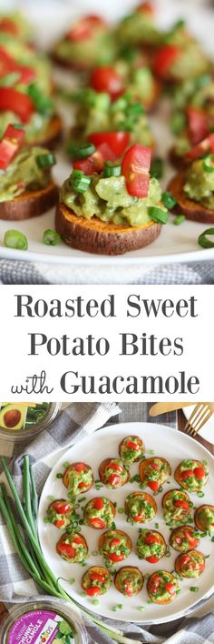 Roasted Sweet Potato Bites with Guacamole Roasted Sweet Potato Bites with Guacamole {vegan, gluten free} // pumpkinandpeanutb… - Delicious Vegan Recipes Sweet Potatoe Bites, Potato Bites, Vegan Appetizers, Appetizer Recipes, Tapas Recipes, Jello Recipes, Party Appetizers, Halloween Fingerfood, Vegetarian Recipes