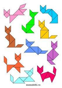 Танграм Кошки - 10 заданий разного вида сложности. FREE - Preschool Printables