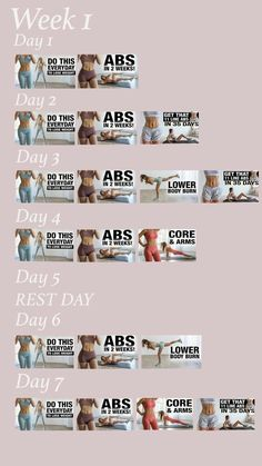 Rutina de Dos Semanas Destructuvo Shred Workout, Workout List, Gym Workout Videos, Gym Workout For Beginners, Fitness Workout For Women, Workout Schedule, Gym Workouts, At Home Workouts, Workout Exercises