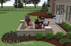 DIY Patio Addition Design with Seat Wall fits perfect on the corner of most existing patios and will beautifully increase your existing outdoor living space. Large Backyard Landscaping, Backyard Patio, Backyard Ideas, Hill Landscaping, Patio Ideas, Garden Ideas, Patio Diy, Patio Wall, Outdoor Retreat