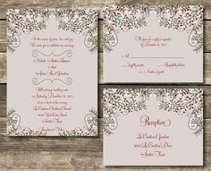 PRINTABLE Wedding Invitation Suite DIY - Winter / Christmas Wedding Collection  (Wording Can Be Customized) by mycharmingprints on Etsy