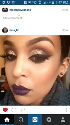 Gorgeous fall makeup - winged liner, MAC nightmoth lip liner, MAC Smoked purple lipstick & Anastasia Beverly Hills eyeshadows