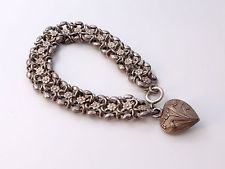 ANTIQUE FRENCH STERLING SILVER BRACELET WITH HEART CHARM ART NOUVEAU
