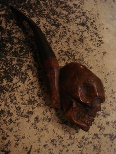Old Carved Skull Smoking Pipe