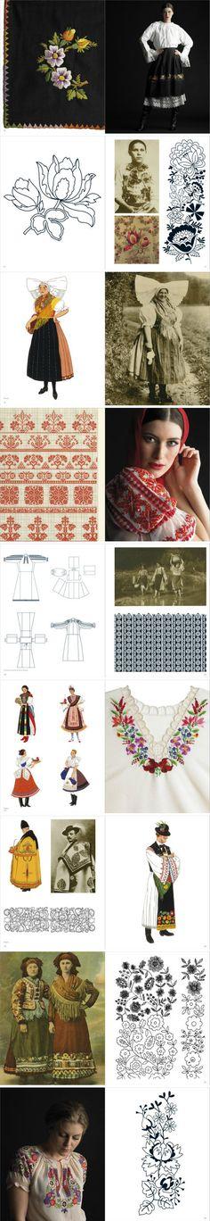 #RENPIN# 中欧和东南欧部的日常服饰设计实例。典型的设计元素包括精致的刺绣,十字缝纫和色彩斑斓的花朵图案。给森女们参考