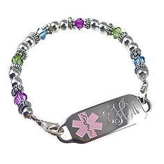 My Identity Doctor Pre-Engraved /& Customized CAL Lung Disease Medical Bracelet Purple Red Millefiori Glass