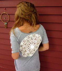 Boho Love Gray Cold Shoulder Crochet Cut Out Knit Tshirt Scoop Neck ... www.etsy.com