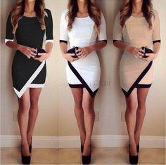 Charlee Cooper 3/4 Sleeve Asymmetrical Mini Bodycon Dress