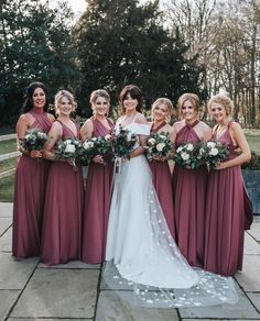 Another stunning bride tribe - this is a must photo in my opinion, don't you think? Multiway Bridesmaid Dress, Pink Bridesmaid Dresses Long, Wedding Bridesmaids, Wedding Dresses, Bridal Gowns, Prom Dresses, Multi Way Dress, Wedding Colors, Wedding Ideas