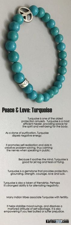 ♛ Turquoise is a #gemstone that provides #protection, grounding, strength, #courage, love and luck and a token of #friendship. Many #indian #tribes associate #turquoise with #fertility. #Peace #Sign  #BEADED #Yoga #BRACELETS #Chakra #gifts #Macrame #Stre http://kundaliniyogameditation.com/