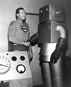 Superman and Robot. George Reeves, the TV Superman of the was one my childhood heroes. Vintage Robots, Retro Robot, I Robot, Vintage Toys, Science Fiction, Superman Poster, Superman Photos, Superman Stuff, George Reeves