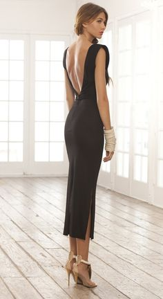 Open Back Black Dress <3