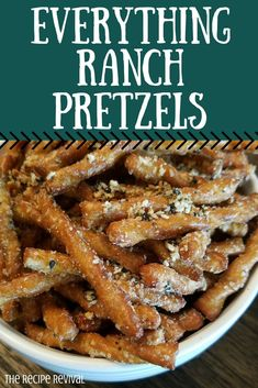 One of the best parts about these pretzels are that they only take a few ingredients to make. In less than 30 minutes you can have a great snack! Finger Food Appetizers, Yummy Appetizers, Yummy Snacks, Appetizer Recipes, Spiced Pretzels, Seasoned Pretzels, Snack Mix Recipes, Cooking Recipes, Snack Mixes