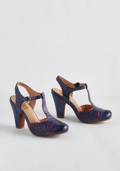 Gavotte to Trot Heel in Azure. You're ready to take on any ballroom the moment you buckle these navy T-straps from Miz Mooz! #blue #modcloth