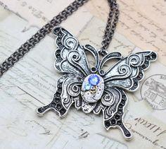 Butterfly Steampunk Necklace Steam Punk by inspiredbyelizabeth, $39.00
