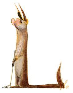 Golfing squirrel by Wiebke Rauers Cute Animal Drawings, Animal Sketches, Animal Illustrations, Street Art, Kobold, Fangirl, Cute Monsters, Cute Illustration, Squirrel Illustration