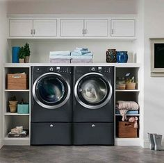 60 Amazingly inspiring small laundry room design ideas  trim in front of shelves at base