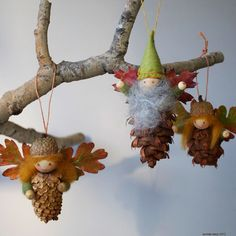 Find a pinecone and leaves in your garden and turn them into adorable natural decoration.