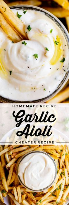 Garlic Aioli Recipe (Classic and Cheater Versions) from The Food Charlatan. I will show you just how easy it is to make homemade Garlic Aioli Sauce! Making it from scratch is quick and easy, but I have a cheater version that is even quicker and easier. Either way you make it, aioli is lemony garlicky heaven! It will be your new favorite condiment in no time.#recipe #easy #garlic #lemon #aioli #sauce #mayonnaise #roasted #garlicmayo #fromscratch #homemade #creamy Garlic Aoli Recipe, Aoili Recipe, Roasted Garlic Aioli, Garlic Sauce, Sauce Recipes, Cooking Recipes, Healthy Recipes, Healthy Food, Homemade Aioli