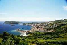 Cidade da Horta, vista parcial do cimo do Miradouro de Nossa Senhora da Conceição, concelho da Horta, ilha do Faial, Açores, Porttugal