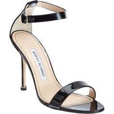 Manolo Blahnik Chaos Ankle-Strap Sandals ($725) ❤ liked on Polyvore featuring shoes, sandals, heels, manolo blahnik, open toe sandals, patent leather sandals, black sandals, black patent leather shoes and ankle strap sandals