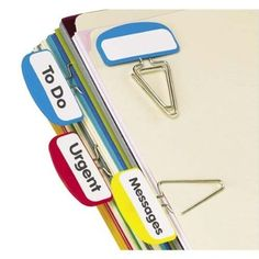 Pendaflex Pilesmart Label Clips with Write On Tabs, Primary Assorted Colors, 12 Per Pack (18651)