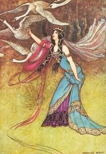 """Warwick Goble   The Six Swans   From """"The Fairy Book"""" by Dinah Maria Mulock, 1923"""