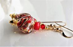 Red Gold Murano Glass Heart Earrings, Venetian Glass Heart Earrings, Red Heart Earrings, Murano Earrings, Venetian Gold Foil Heart Earrings by hhjewelrydesigns on Etsy