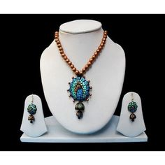Blue peacock terracotta necklace jewellery shop from #craftshopsindia
