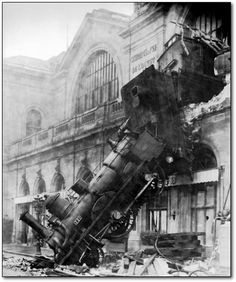 This seemingly impossible shot of a train exploding out of the second floor of a train station is the great derailment of the Granville-Paris Express at Gare Montparnasse on Oct. 22, 1895.  Despite the fact that the train carried more than a hundred passengers and plowed through a train station, only one person was killed: a woman outside.