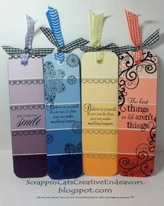 Paint Chip Book Marks, Inspired by Pinterest.- I need these for Samantha since she looses them all the time!  MUCH CHEAPER!